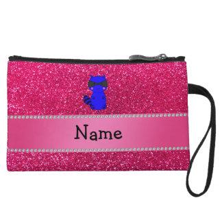Custom name blue raccoon pink glitter wristlet clutch