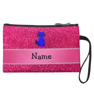 Custom name blue raccoon pink glitter wristlet purse