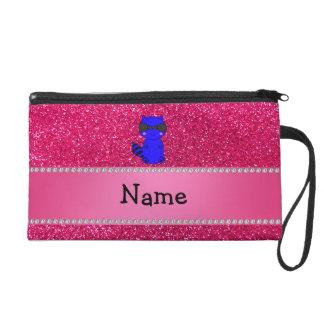 Custom name blue raccoon pink glitter wristlets