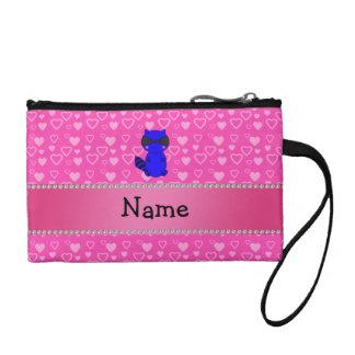 Custom name blue raccoon pink hearts change purses