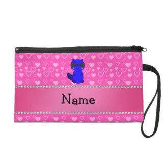 Custom name blue raccoon pink hearts wristlet