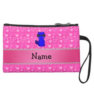 Custom name blue raccoon pink hearts wristlet purses