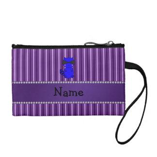 Custom name blue raccoon purple stripes change purses