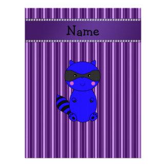 Custom name blue raccoon purple stripes letterhead design