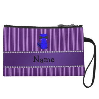 Custom name blue raccoon purple stripes wristlet clutches