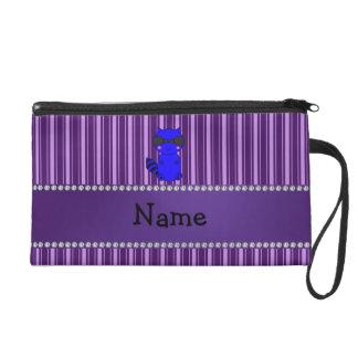 Custom name blue raccoon purple stripes wristlet purses