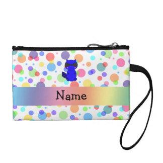 Custom name blue raccoon rainbow polka dots coin wallets