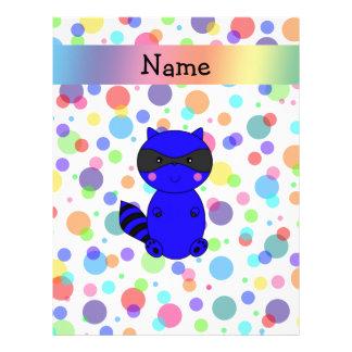 Custom name blue raccoon rainbow polka dots letterhead design