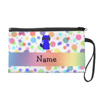 Custom name blue raccoon rainbow polka dots wristlet