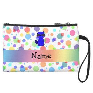 Custom name blue raccoon rainbow polka dots wristlet clutch