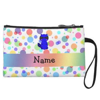 Custom name blue raccoon rainbow polka dots wristlets