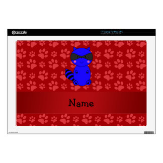 """Custom name blue raccoon red paws decal for 17"""" laptop"""