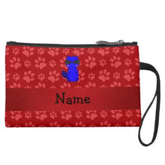 Custom name blue raccoon red paws wristlet clutch