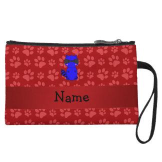 Custom name blue raccoon red paws wristlet purses