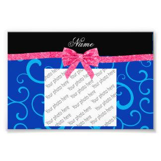 Custom name blue swirls pink glitter bow art photo