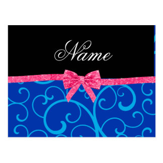 Custom name blue swirls pink glitter bow post card