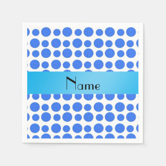 Custom name blue volleyball pattern paper napkin