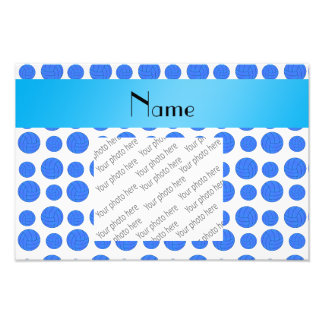Custom name blue volleyball pattern art photo