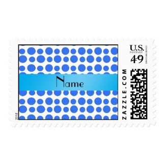 Custom name blue volleyball pattern postage stamp