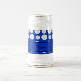 Custom name blue volleyballs blue stripe beer stein