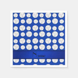 Custom name blue volleyballs blue stripe napkin