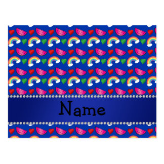 Custom name blue watermelons rainbows hearts postcard