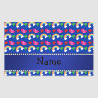 Custom name blue watermelons rainbows hearts stickers