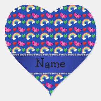 Custom name blue watermelons rainbows hearts sticker