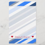 [ Thumbnail: Custom Name; Blue/White/Gray Lines/Stripes Pattern Stationery ]
