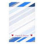 [ Thumbnail: Custom Name; Blue/White/Gray Lines/Stripes Pattern Stationery ]