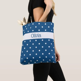 Custom Name Blue White Polka Dot Pattern Tote Bag