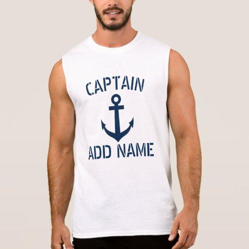 Custom name boat captain sailing tank top for men