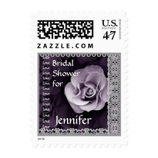 Custom Name Bridal Shower PURPLE Rose Stamp