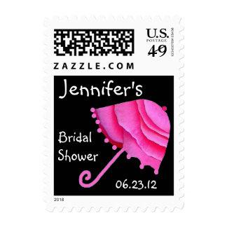 CUSTOM NAME Bridal Shower with Pink Umbrella Postage Stamp
