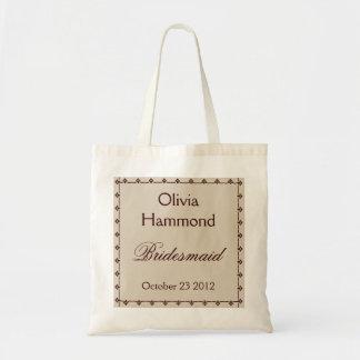 CUSTOM NAME Bridesmaid Bag TAUPE & CHOCOLATE