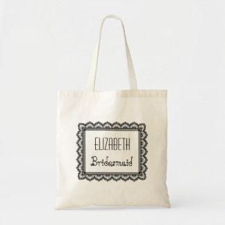 Custom Name Bridesmaid Bag with Black Lace