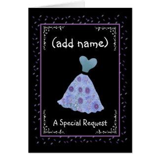 CUSTOM NAME - Bridesmaid - BLUE Flowered Dress Greeting Card