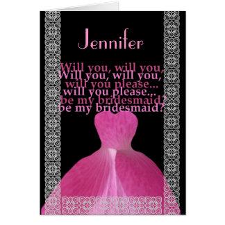 CUSTOM NAME - Bridesmaid Card PINK Gown