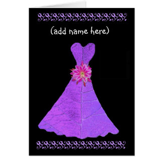 Custom Name - BRIDESMAID Card Royal Purple Gown Greeting Card