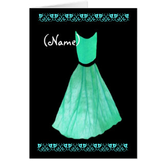 CUSTOM NAME Bridesmaid Invitation MINT GREEN Gown Greeting Cards