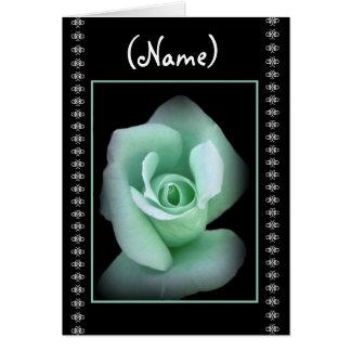 CUSTOM NAME Bridesmaid Invitation MINT GREEN Rose Greeting Card