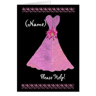 CUSTOM NAME Bridesmaid  Invitation PINK Gown Greeting Card