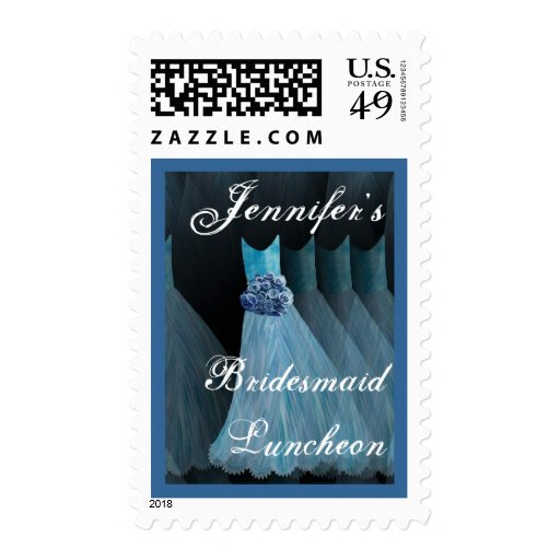 CUSTOM NAME Bridesmaid Luncheon - BLUE Gowns Stamps