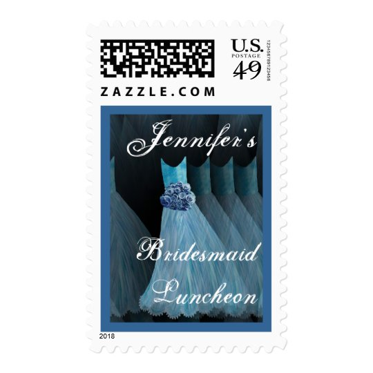 CUSTOM NAME Bridesmaid Luncheon - BLUE Gowns Postage