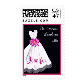 CUSTOM NAME Bridesmaid Luncheon with Wedding Gown Postage Stamp