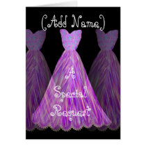 CUSTOM NAME - Bridesmaid MAGENTA  Dress Card