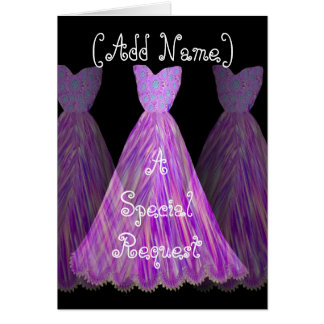 CUSTOM NAME - Bridesmaid MAGENTA  Dress Greeting Card