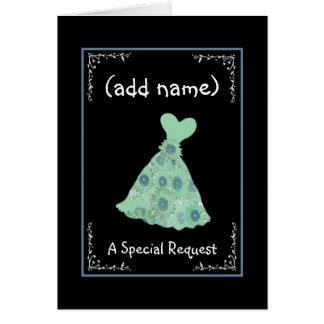 CUSTOM NAME - Bridesmaid Mint Green Dress Greeting Cards