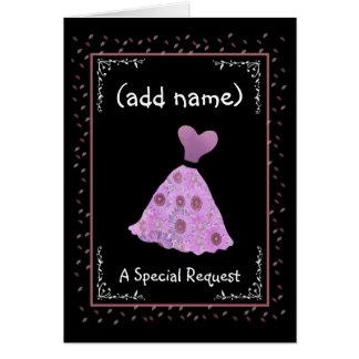 CUSTOM NAME - Bridesmaid - PINK Flowered Dress Cards