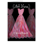 CUSTOM NAME - Bridesmaid PINK & RED FLAME Dress Card